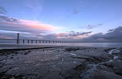 Vasco da Gama Bridge in Lisbon. - stock photo