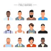 Male avatar icons vector set. People characters in flat style. Design element - stock illustration