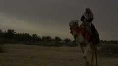 Arab male traditional headdress robe riding his camel over desert Stock Footage