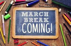The text march break is coming written on a chalkboard Stock Photos