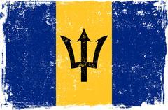 Barbados Vector Flag on White Stock Illustration