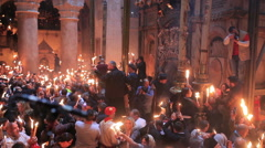 Christians participating at Miracle of Holy Fire in Easter Day. - stock footage