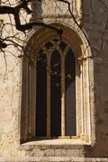 Window in the romanesque monastery of Sant Cugat, Barcelona - stock photo