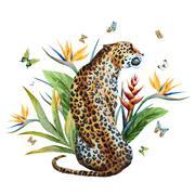Watercolor vector leopard Stock Illustration
