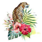 Watercolor vector leopard - stock illustration