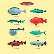 Fish vector set in flat style design. Ocean, sea and river fishes icons - stock illustration