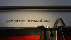 "Message typed is ""Computer breakdown"". Stock Footage"