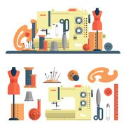 Sewing machine and accessories for dressmaking and handmade fashion. Vector Stock Illustration