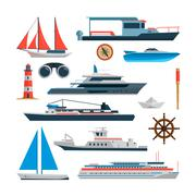 Sea vector set of ships, boats and yacht isolated on white. Marine icons - stock illustration