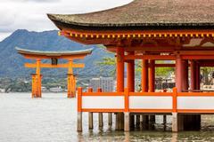 Floating torii Miyajima Hiroshima Stock Photos