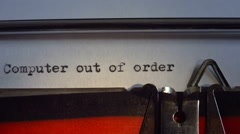 "Message typed is ""Computer out of order"" Stock Footage"