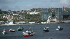 Anchored fishing boats, Cascais harbor marina port, Portugal Stock Footage