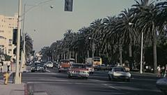 California, USA 1975: heavy traffic in a palms boulevard Stock Footage
