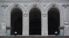 Portuguese parliament building guards, close up, tilt up, Lisbon, Portugal Stock Footage
