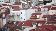 Orange rooftop buildings, Lisbon, Lisboa, Portugal Arkistovideo