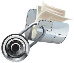 Locked steel folder with documents - stock illustration