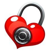 Red heart with shiny metal round combination lock - stock illustration