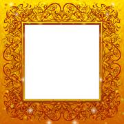 Golden holiday frame - stock illustration