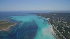 Wide angle Sardinia seacoast with horizon Stock Footage