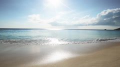 Seychelles beach with blue ocean view at the afternoon Stock Footage
