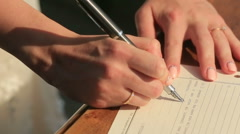 Lady Make Signiture Close Up Stock Footage
