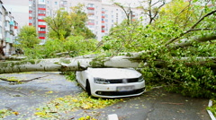 The car destroyed by a hurricane. Stock Footage