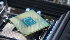 Cpu is on the motherboard for a home computer Stock Footage