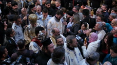 Christians participating at Miracle of Holy Fire in Easter Day. Stock Footage