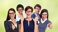 Group of business people wearing eyeglasses. Stock Photos