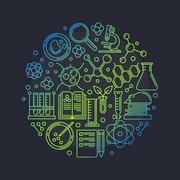 Biotechnology round vector illustration Stock Illustration