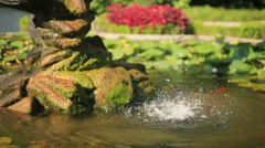 Fountain With Moss and Waterfall Stock Footage