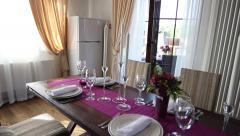 served table in the dining room - stock footage