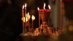 Candles In The Orthodox Church - stock footage