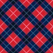 Diagonal seamless pattern in blue and red colors - stock illustration