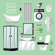 Bathroom interior furniture. Vector illustration in flat style. Design element - stock illustration