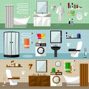 Bathroom interior with furniture. Vector illustration in flat style. Design - stock illustration