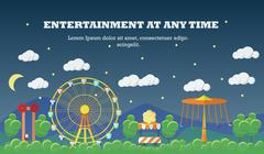 Amusement park banner concept vector illustration in flat style design. City - stock illustration