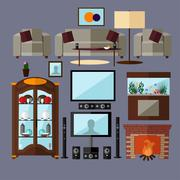 Stock Illustration of Living room interior with furniture. Concept vector illustration in flat
