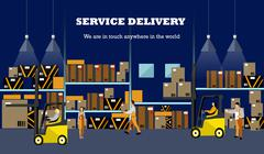 Logistic and delivery service concept banner. Warehouse interior poster. Vector - stock illustration
