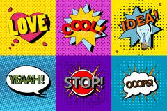 Vector set of comic speech bubbles in pop art style. Design elements - stock illustration