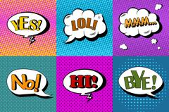 Stock Illustration of Vector set of comic speech bubbles in pop art style. Design elements