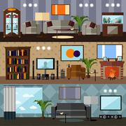 Living room interior with furniture. Concept vector illustration in flat - stock illustration