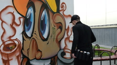 Graffiti in the street Stock Footage