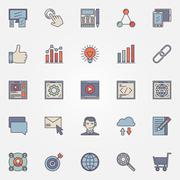 SEO optimization icons set Stock Illustration