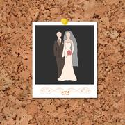Vector corkboard with instant photo card with bride and groom. Stock Illustration
