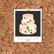 Vector corkboard with instant photo card and wedding cake Stock Illustration