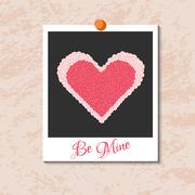 Vector instant photo card with heart from red roses Stock Illustration