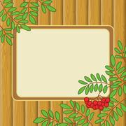 Background with rowanberry and table - stock illustration
