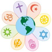 World Religions United Peace Flower Symbol - stock illustration