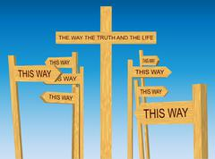 Way, Truth and Life Sign Among Conflicting Direction Signs - stock illustration